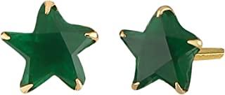 Efulgenz 18k 镀金单粒 AAA 方晶锆石 CZ 耳钉日常佩戴耳环适合女孩和女士的礼物