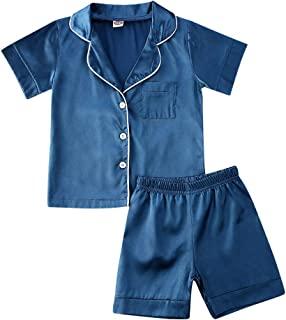 儿童幼童女婴男孩缎面睡衣套装短袖系扣睡衣衬衫上衣 + 短裤下装睡衣套装