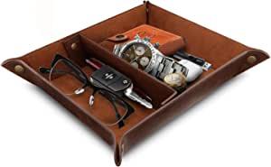 OTTO - 皮革托盘收纳袋 - 钱包、手表、钥匙、硬币、手机和办公设备的实用收纳盒 深棕色