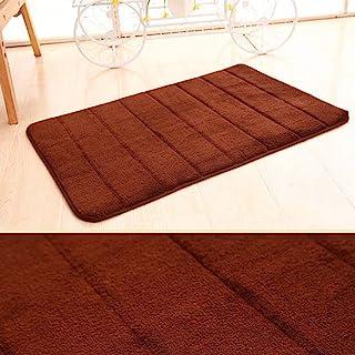 防滑浴室地毯垫毛超细纤维淋浴浴室地毯吸水浴垫浴室可机洗11英尺x 2英尺,咖啡色