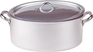 Pentole Agnelli 椭圆形锅盖,铝制,带2个不锈钢手柄,银色30x19x12厘米,银色/黑色