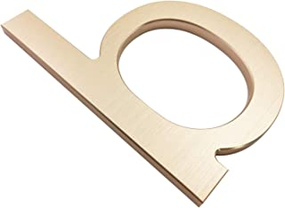 现代铝制房屋号码 - 易于安装 - 香槟色浮动外观地址和个性化门牌号码 B
