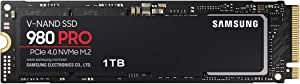 Samsung 三星 980 PRO 1TB PCIe Gen 4.0 x4 (*大传输速度 7,000MB/秒) NVMe M.2 (2280) 内置 SSD MZ-V8P1T0B/EC