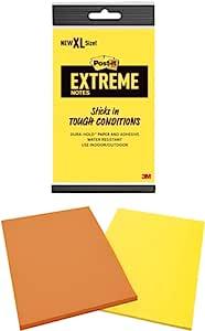 Post-it Extreme XL 便利贴,适合户外使用,17.8 - 48.9 °C,100 倍的持握力,橙色和黄色,每个垫子 25 张,2 个衬垫/包,多色 (EXT456-2MX)