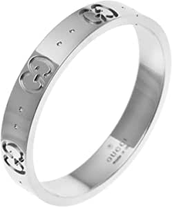 [古驰] GUCCI K18 白金 图标 戒指