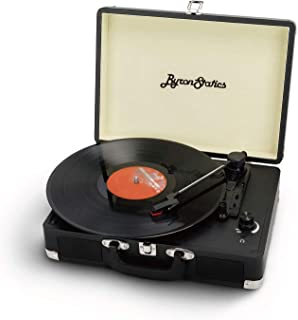 Byron Statics 唱盘复古唱片播放器便携式乙烯基播放器怀旧内置2立体声扬声器3档替换针直流标准RCA耳机输出黑色