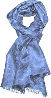 LORENZO CANA – 男士正品豪华丝巾披肩锦缎提花男式围巾浅蓝色 22 英寸 x 75 英寸,55 x 180 厘米 – 8909811