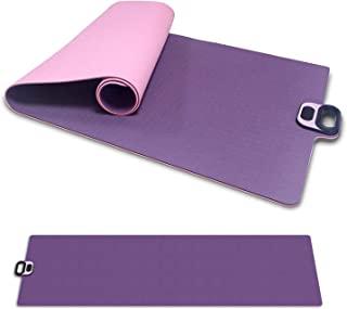 瑜伽垫,双面防滑瑜伽垫带手机夹智能计时器,高*抗撕裂,TPE,防汗便携式普拉提运动垫带手柄适用于瑜伽普拉提和地板锻炼(粉色)