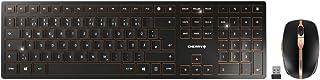 Cherry DW 9000 纤薄版可充电无线桌面键盘和鼠标,USB 无线接收器,无线键盘,蓝牙连接,加密,黑色