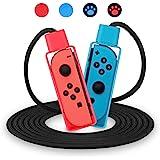 OBES Nintendo 任天堂 Switch 运动游戏跳绳挑战 可调节跳绳兼容 (10 英尺) 带 4 个操纵杆拇指…