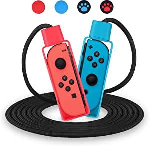 OBES Nintendo 任天堂 Switch 运动游戏跳绳挑战 可调节跳绳兼容 (10 英尺) 带 4 个操纵杆拇指握套套装