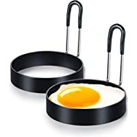 *不粘鸡蛋环套装适用于煎炸或塑形鸡蛋,圆形鸡蛋锅环用于烹饪,不锈钢不粘模具塑形圆圈适用于煎蛋麦芬三明治,带防烫手柄