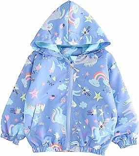 女孩卡通独角兽夹克春季拉链儿童连帽火烈鸟风衣适合幼儿粉红色灯光外套