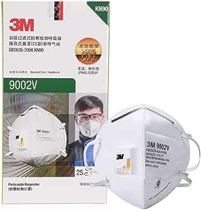 3M 9002V KN90 带阀 防尘 ***毒颗粒物 PM2.5 雾霾 骑行口罩,25只/盒,非独立包装