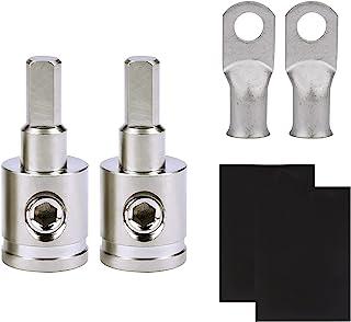 1/0 Gauge to 4 Gauge Wire Reducer (2 对)汽车音频功率/地面功放输入减少器适配器,带 AWG 1/0-3/8 英寸电池端子连接器和热缩管