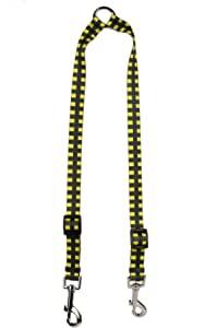 黄色狗狗设计水牛格子黄色耦合狗绳 2.54 厘米宽,30.8 厘米至 50.8 厘米长,大号