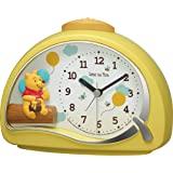RHYTHM 座钟 黄色 11.4x15.2x7.5cm 闹钟 迪士尼 小熊维尼 电子音闹钟 4SE561MC33