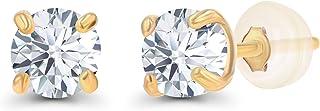10K 纯黄色、白色或玫瑰金 3 毫米圆形正品宝石诞生石耳钉 女式