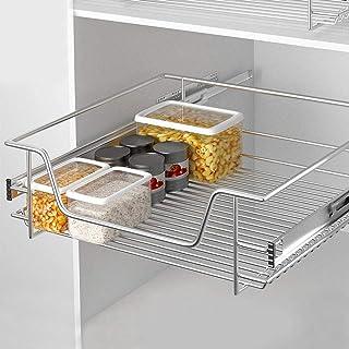 BAKAJI 伸缩抽屉,厨房家具 可伸缩家具,节省空间,不锈钢导轨,金属,银色,60厘米