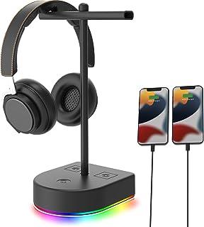 RGB 双耳机支架带 USB 充电端口,桌面游戏双耳机支架,耐用耳机挂架 - 适用于桌面桌、游戏、DJ、耳机、PC、PS4、PS5、Xbox 游戏机配件