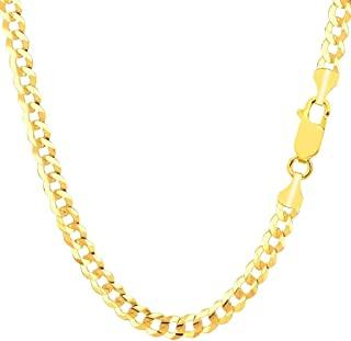 Pori Jewelers 14K 金 2.5MM、4MM、5MM、6.5MM、7.5MM、9MM 古巴/圆柱链项链和手链 - 意大利制造 - 黄色、白色、玫瑰色、双色