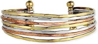 ZAD 混合金属锤琢袖口时尚手链