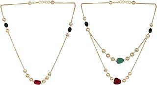 Efulgenz 珍珠项链印度 14K 镀金红*人造红宝石绿珠串时尚服饰珠宝