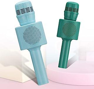 CYY 2 件装蓝牙无线卡拉 OK 麦克风,适合儿童和成人的玩具麦克风,便携式无绳卡拉 OK 扬声器,女孩和男孩,生日和节日礼物送给派对或户外活动