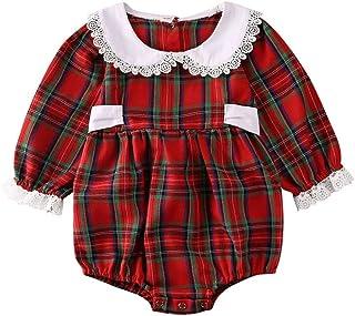 女婴服装格子褶边连身衣连体衣一件套装