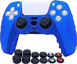 PS5 Controller Skins RALAN,硅胶控制器保护套皮肤保护套兼容 PS5 控制器(黑色拇指握把 x 8,盖盖 x 4)(蓝色)
