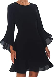Bar III 女式荷叶边下摆修身喇叭连衣裙