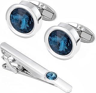 Dannyshi 男式袖扣蓝色水晶圆形经典燕尾服衬衫袖扣领带夹套装适合男士商务婚礼