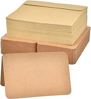 100 包空白卡和 100 包信封牛皮纸折叠卡片纸适用于 DIY 母亲节卡、圣诞贺卡、婚礼、生日、邀请函、迎婴聚会