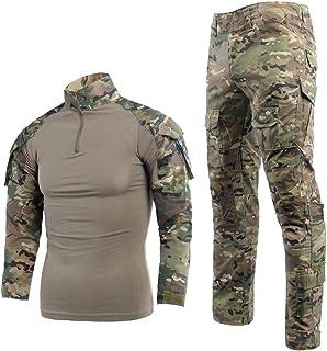 LANBAOSI 男式战术战斗衬衫和裤子套装 长袖 Multicam BDU 制服尺码 L