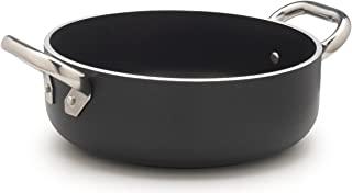 pentole agnelli alblack 低砂锅,铝,厚度5mm ,10mm 方案感应,带2个不锈钢手柄,黑色
