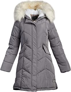 Jessica Simpson 女式外套 – 加厚羽绒冬季泡棉夹克,带夏尔巴毛内衬兜帽