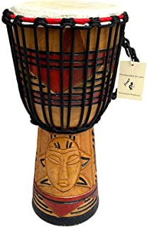 JIVE BRAND Djembe 鼓 邦戈 刚果非洲红木鼓 厚底 山羊皮 鼓头 手工雕刻 专业品质 - 40.64 cm 高 - 非中国制造