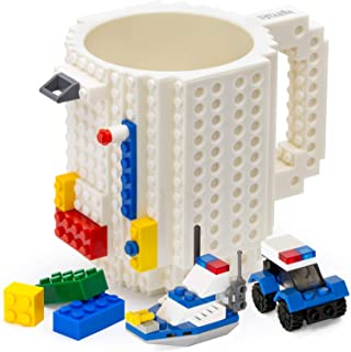 TOYAMBA Build-on Brick 马克杯 - 453.59 ml 不含 BPA 趣味咖啡杯 3 件装积木,儿童趣味杯 - 创意积木马克杯 DIY 礼物创意 白色 NCS-TMB-008