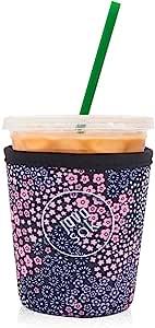 Java Sok 可重复使用冰咖啡杯绝缘套适用于冷饮和氯丁橡胶支架,适用于星巴克咖啡、麦当劳、邓肯甜圈、更多(薰衣草花,16-20 盎司小号)