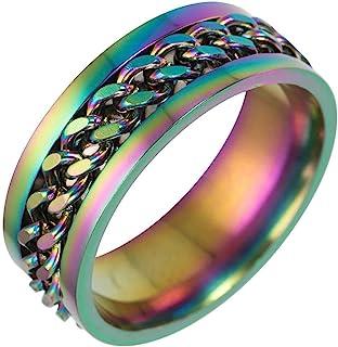 Jude Jewelers 8 毫米不锈钢链镶嵌婚戒自行车手戒指