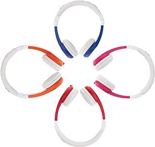音量极限儿童耳塞 | 耐用舒适 & 定制 | 内置耳机分配器和 IN LINE MIC | 非常适合学校 | 适用于 iPad Kindle 电脑和平板电脑 Foldable 4-Pack Blue, Pink, Red & Orange
