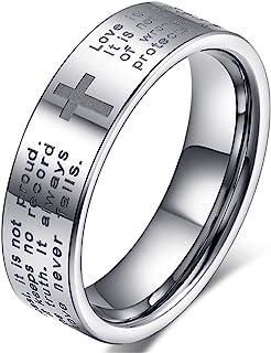 Fashion Month 男士女士 8 毫米碳化钨雕刻英式圣经上帝祈祷白色戒指十字戒指