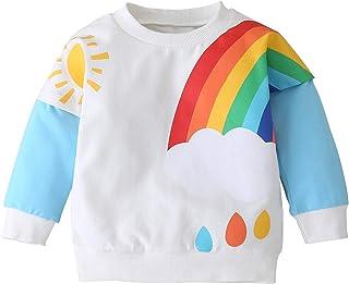 younger 星星女婴春季软彩虹上衣女式衬衫长袖幼儿休闲上衣