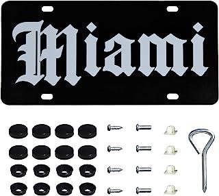 ONE250 不锈钢汽车前车牌带螺丝盖罩套装,美国标准汽车车牌盖支架框架,汽车车牌标签(迈阿密)