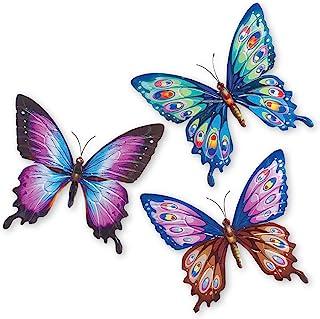 Collections Etc 彩色蝴蝶金属 3D 墙面艺术 - 3 件套,紫色,蓝色,棕色和粉红色的美丽色调 - 春天装饰装饰装饰,适用于家庭任何房间