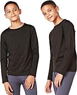 DEVOPS 男童 2 件装保暖衬衫压缩长袖上衣,带羊毛内衬
