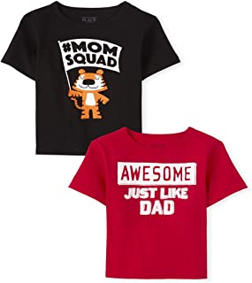 The Children's Place 婴幼儿男孩妈妈和爸爸图案 T 恤 2 件装