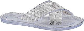 女式果冻拖鞋水钻十字交叉平底凉鞋