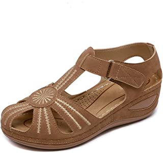 DUOYANGJIASHA 女式夏季凉鞋沙滩坡跟凉鞋波西米亚人字拖踝带休闲舒适圆头角斗士户外鞋