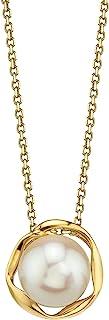 珍珠SOURCE 14K 金 8-9 毫米优质圆形白色淡水养殖珍珠查理吊坠项链 女式